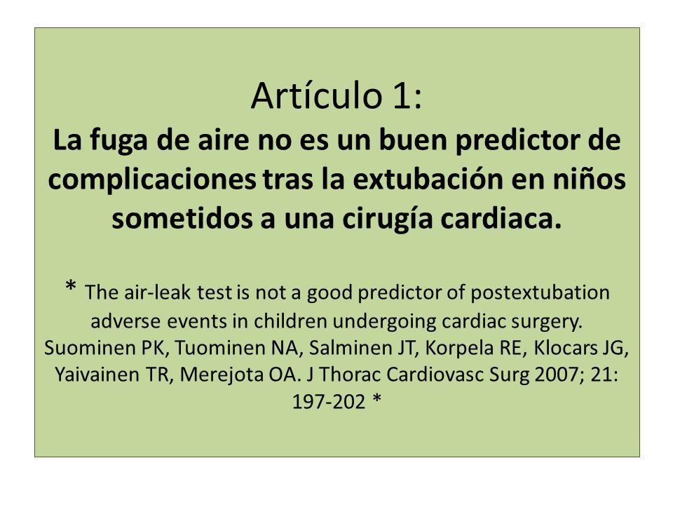 Artículo 1: La fuga de aire no es un buen predictor de complicaciones tras la extubación en niños sometidos a una cirugía cardiaca. * The air-leak tes