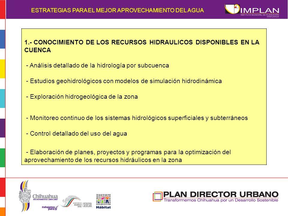 ESTRATEGIAS PARA EL MEJOR APROVECHAMIENTO DEL AGUA 1.- CONOCIMIENTO DE LOS RECURSOS HIDRAULICOS DISPONIBLES EN LA CUENCA - Análisis detallado de la hi