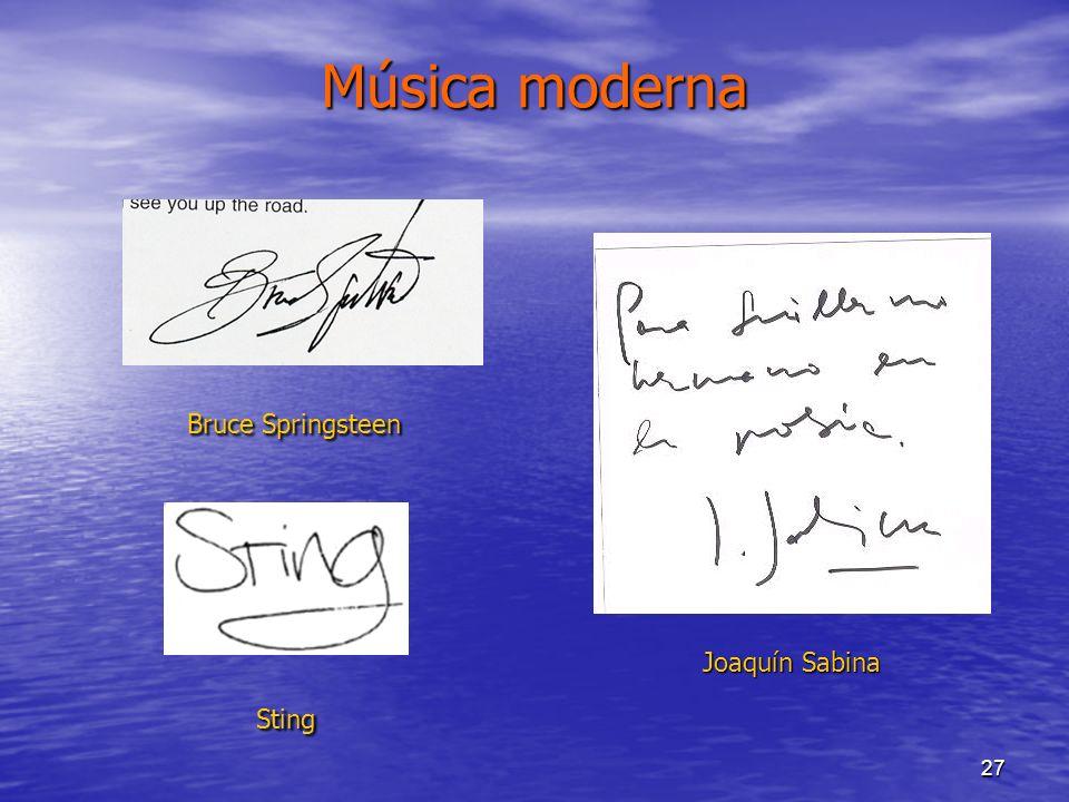 27 Música moderna Bruce Springsteen Joaquín Sabina Sting
