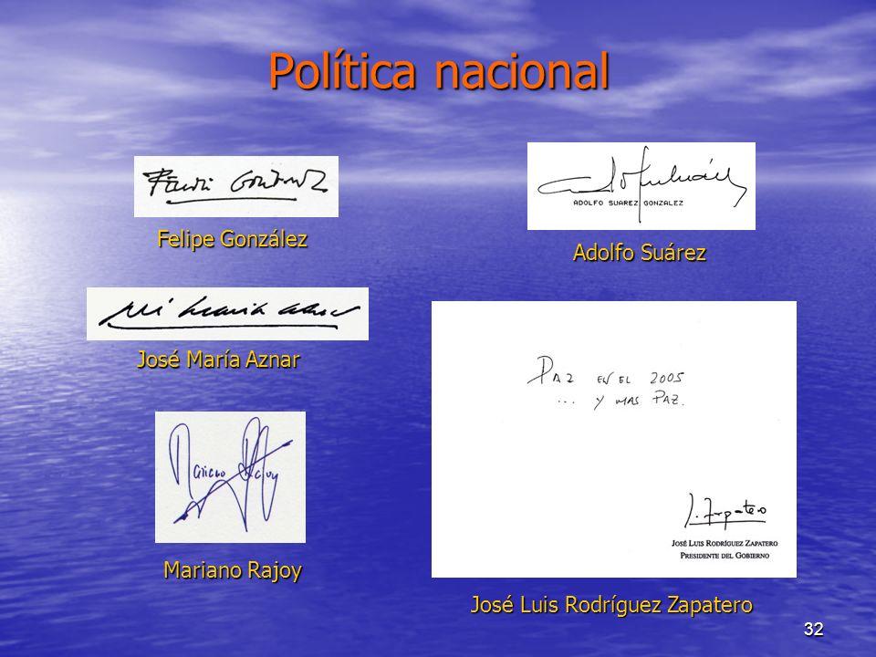 32 Política nacional Mariano Rajoy José María Aznar Adolfo Suárez José Luis Rodríguez Zapatero Felipe González