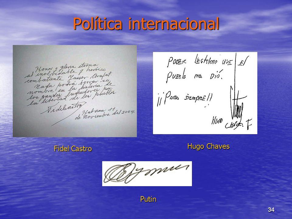 34 Política internacional Fidel Castro Hugo Chaves Putin