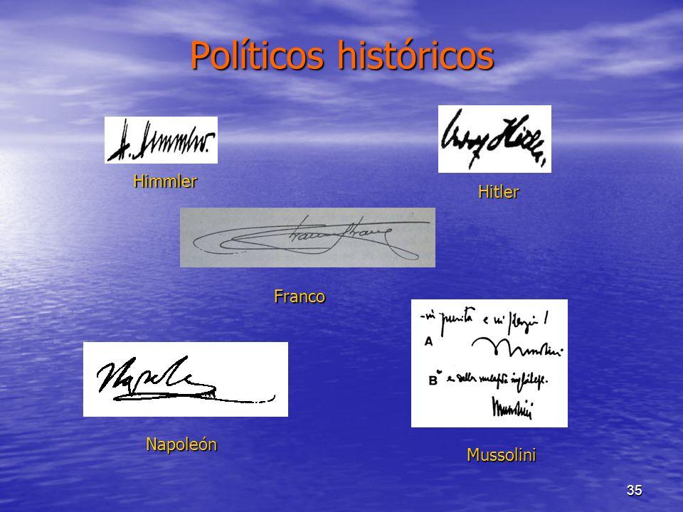 35 Políticos históricos Napoleón Franco Hitler Mussolini Himmler