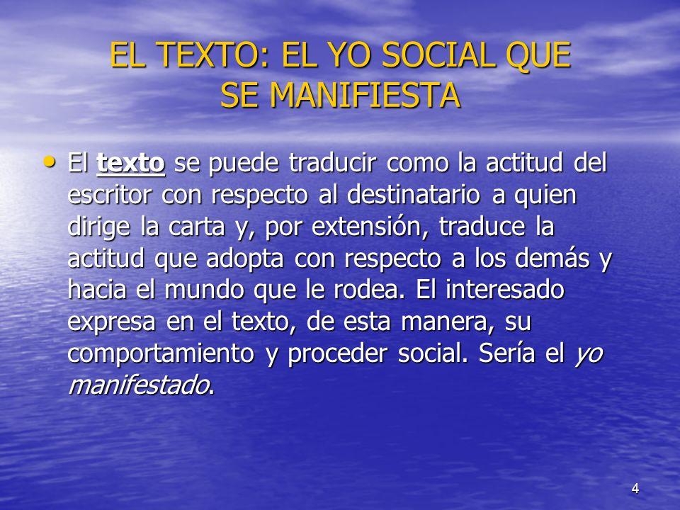 4 EL TEXTO: EL YO SOCIAL QUE SE MANIFIESTA El texto se puede traducir como la actitud del escritor con respecto al destinatario a quien dirige la cart