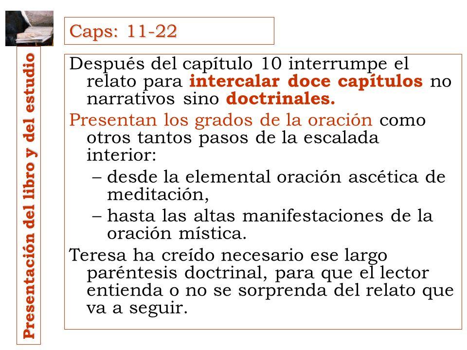 1. Dedica los diez primeros capítulos a las jornadas que preceden y preparan su vida mística: –el hogar, –la vocación religiosa, –la enfermedad de Ter
