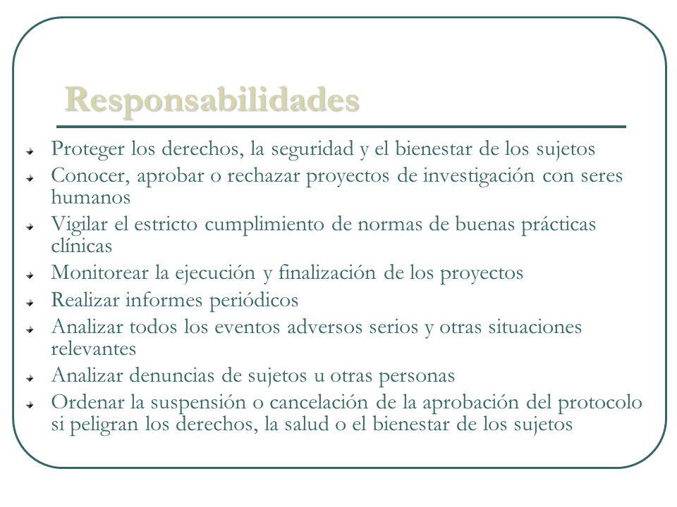 Responsabilidades Proteger los derechos, la seguridad y el bienestar de los sujetos Conocer, aprobar o rechazar proyectos de investigación con seres h