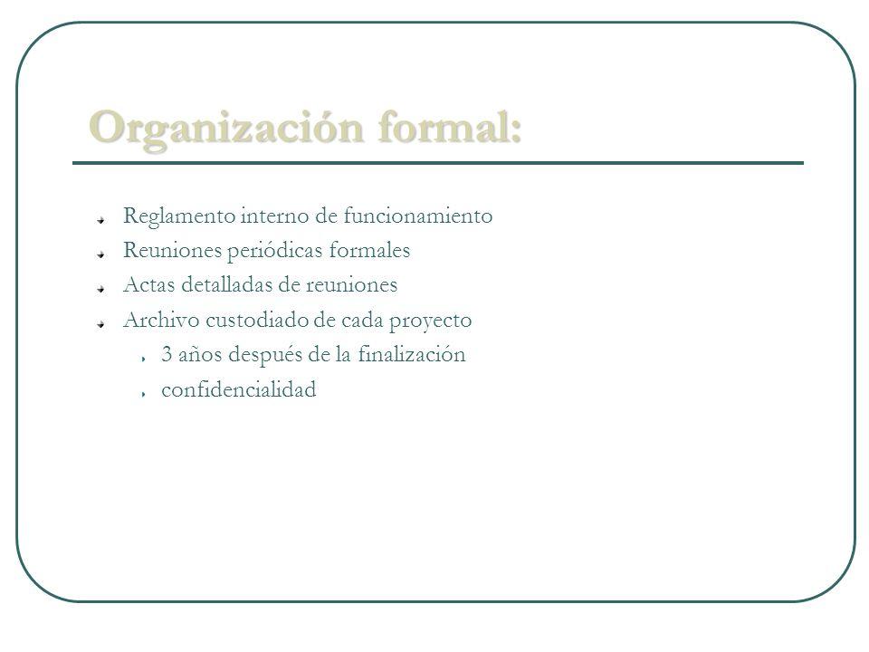 Organización formal: Reglamento interno de funcionamiento Reuniones periódicas formales Actas detalladas de reuniones Archivo custodiado de cada proyecto 3 años después de la finalización confidencialidad