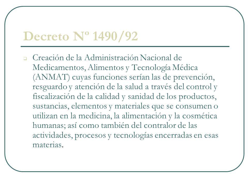 Decreto Nº 1490/92 Creación de la Administración Nacional de Medicamentos, Alimentos y Tecnología Médica (ANMAT) cuyas funciones serían las de prevenc