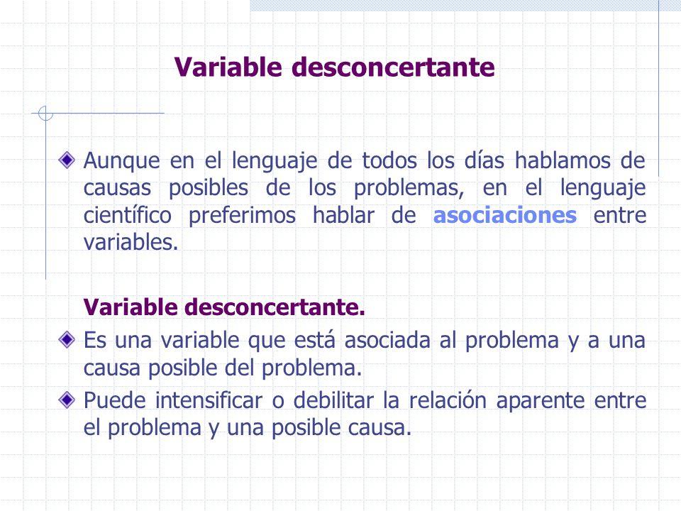 Variable desconcertante Aunque en el lenguaje de todos los días hablamos de causas posibles de los problemas, en el lenguaje científico preferimos hablar de asociaciones entre variables.