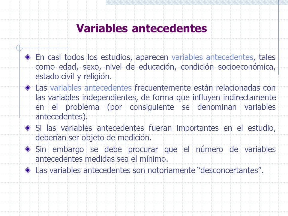 Variables antecedentes En casi todos los estudios, aparecen variables antecedentes, tales como edad, sexo, nivel de educación, condición socioeconómica, estado civil y religión.