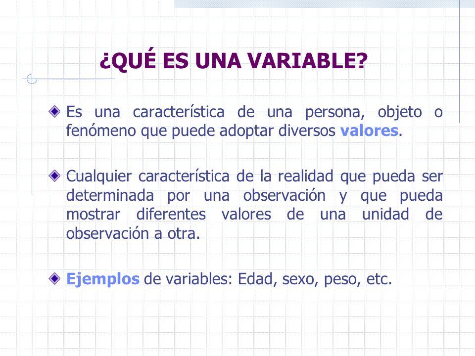 ¿QUÉ ES UNA VARIABLE? Es una característica de una persona, objeto o fenómeno que puede adoptar diversos valores. Cualquier característica de la reali