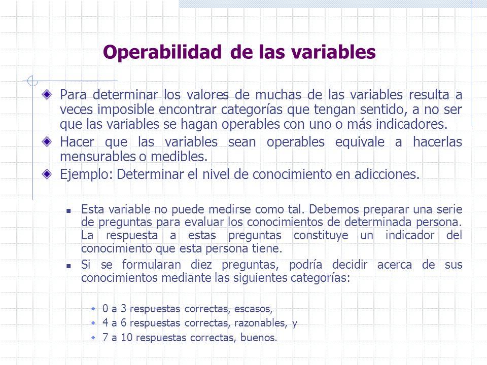 Operabilidad de las variables Para determinar los valores de muchas de las variables resulta a veces imposible encontrar categorías que tengan sentido, a no ser que las variables se hagan operables con uno o más indicadores.