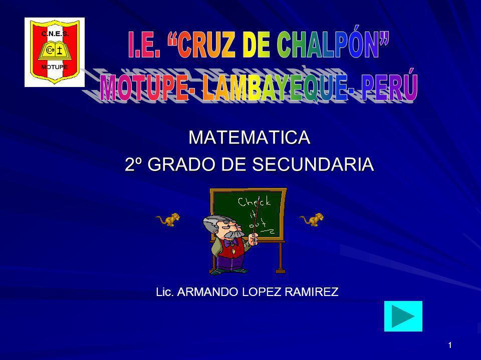 1 MATEMATICA 2º GRADO DE SECUNDARIA Lic. ARMANDO LOPEZ RAMIREZ