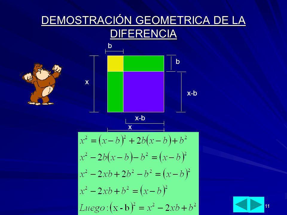 11 DEMOSTRACIÓN GEOMETRICA DE LA DIFERENCIA x x b x-b b
