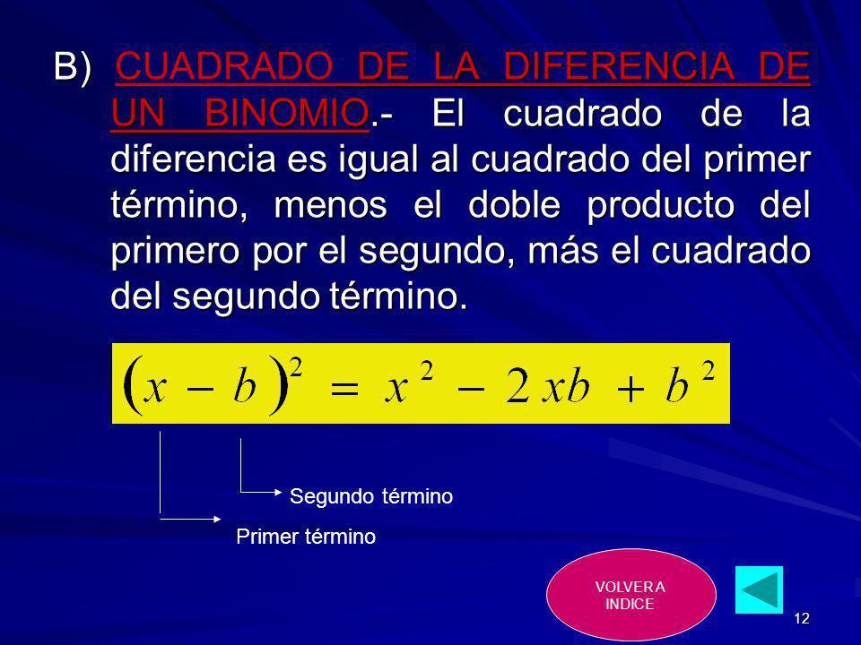 12 B) DE LA DIFERENCIA DE UN BINOMIO.- El cuadrado de la diferencia es igual al cuadrado del primer término, menos el doble producto del primero por e