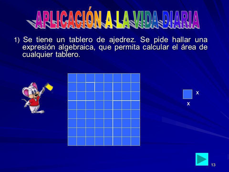 13 1) Se tiene un tablero de ajedrez. Se pide hallar una expresión algebraica, que permita calcular el área de cualquier tablero. x x
