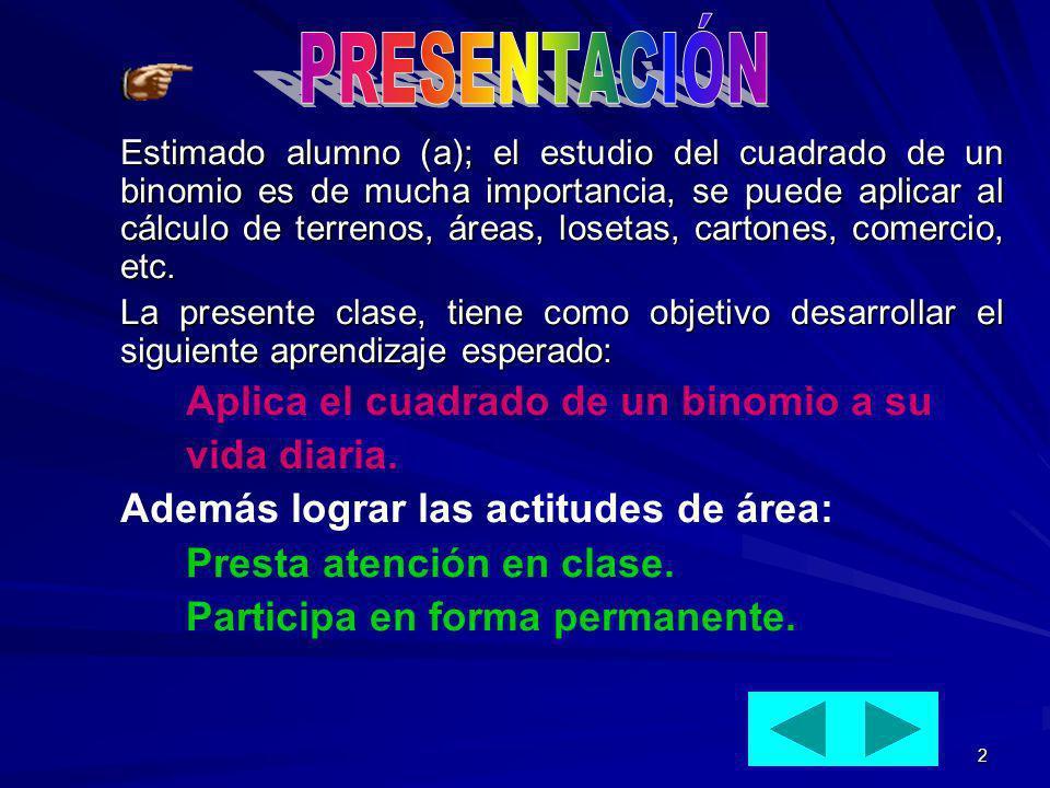 2 Estimado alumno (a); el estudio del cuadrado de un binomio es de mucha importancia, se puede aplicar al cálculo de terrenos, áreas, losetas, cartone