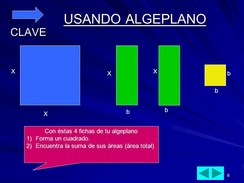 8 USANDO ALGEPLANO CLAVE X XX Xb b b b Con éstas 4 fichas de tu algeplano 1)Forma un cuadrado. 2)Encuentra la suma de sus áreas (área total)