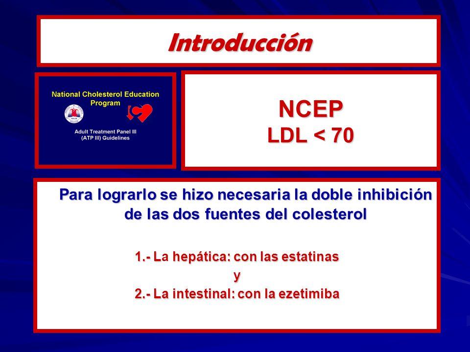 NCEP LDL < 70 Para lograrlo se hizo necesaria la doble inhibición de las dos fuentes del colesterol 1.- Lhepática: con las estatinas 1.- La hepática: con las estatinasy 2.- La intestinal: con la ezetimiba Introducción