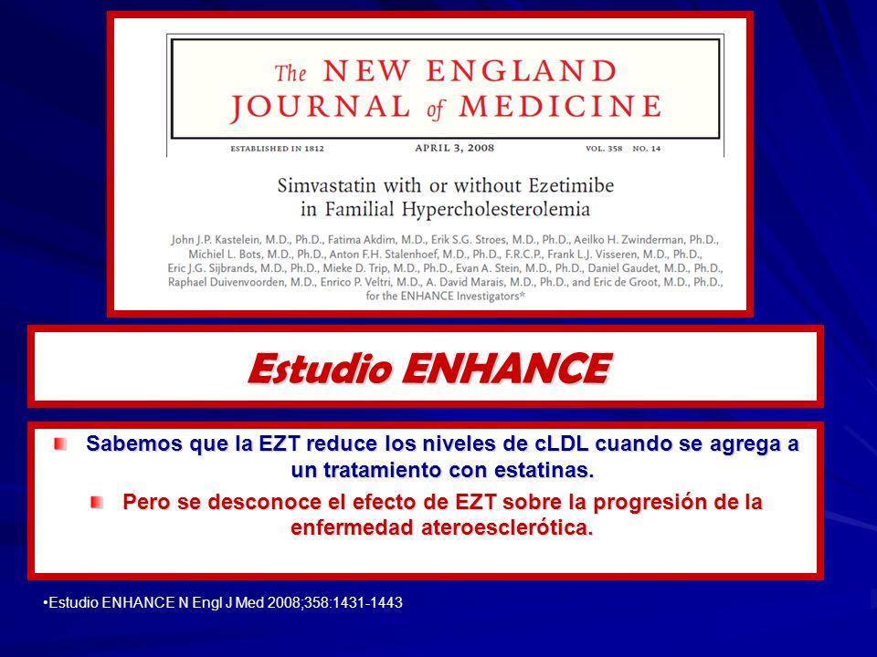 Sabemos que la EZT reduce los niveles de cLDL cuando se agrega a un tratamiento con estatinas. Pero se desconoce el efecto de EZT sobre la progresión