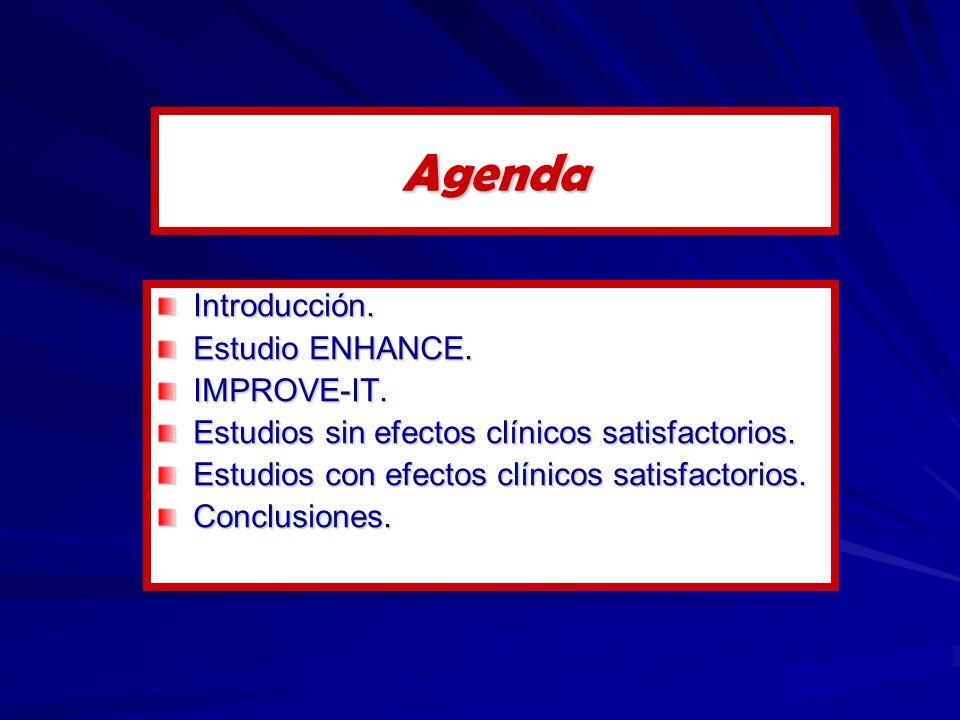 Agenda Introducción. Estudio ENHANCE. IMPROVE-IT. Estudios sin efectos clínicos satisfactorios. Estudios con efectos clínicos satisfactorios. Conclusi