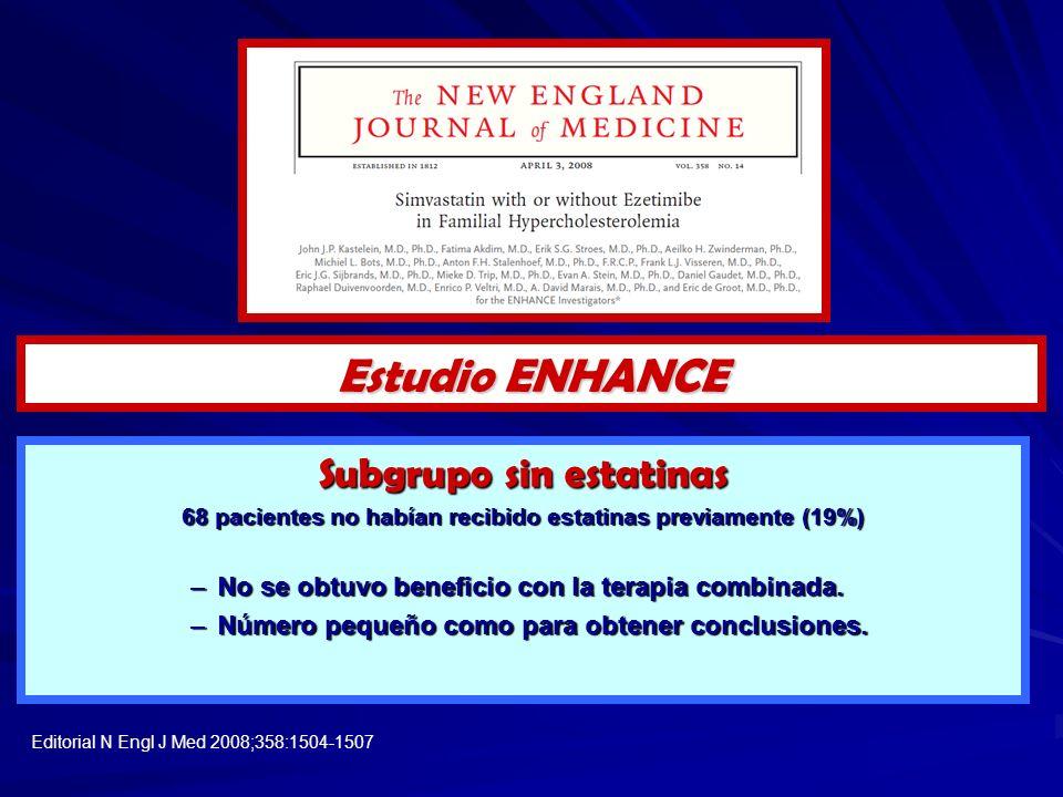 Subgrupo sin estatinas 68 pacientes no habían recibido estatinas previamente (19%) –No se obtuvo beneficio con la terapia combinada. –Número pequeño c