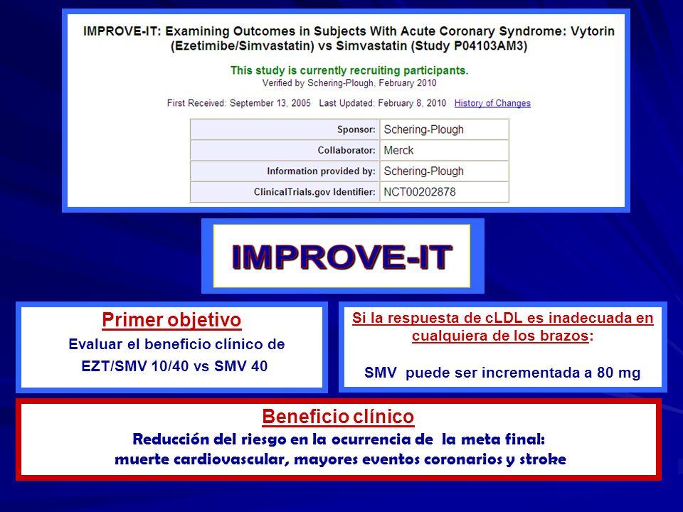 Primer objetivo Evaluar el beneficio clínico de EZT/SMV 10/40 vs SMV 40 Si la respuesta de cLDL es inadecuada en cualquiera de los brazos: SMV puede s