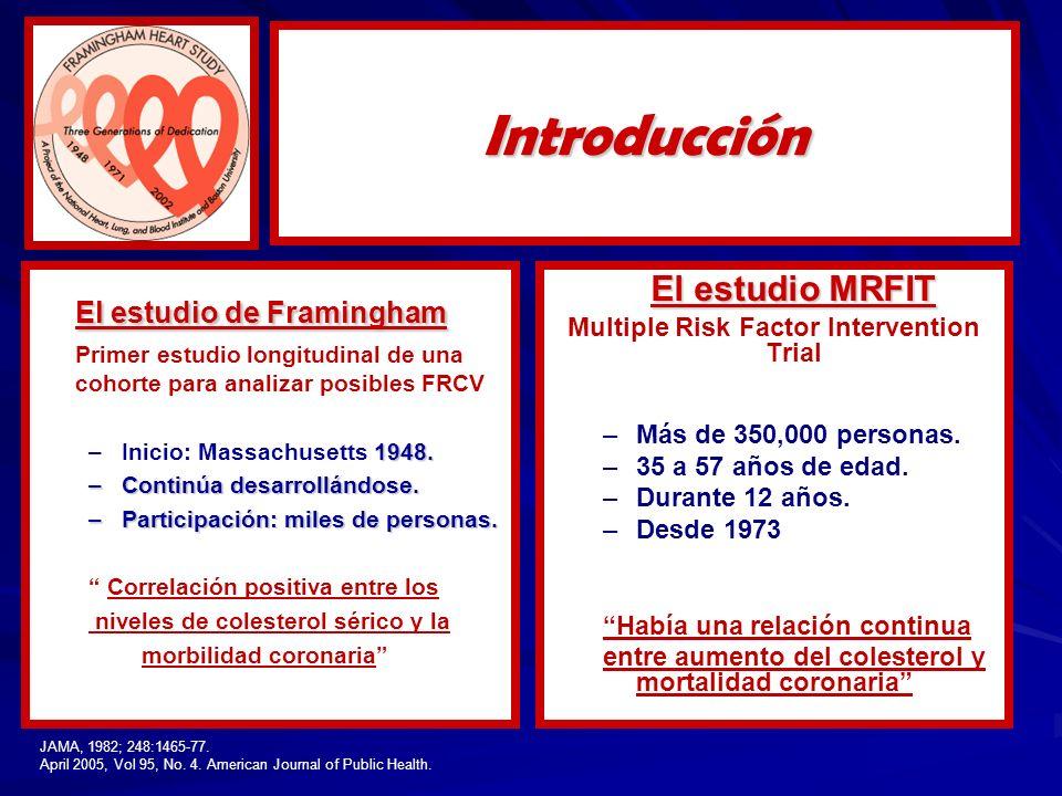 El estudio de Framingham Primer estudio longitudinal de una cohorte para analizar posibles FRCV –1948. –Inicio: Massachusetts 1948. –Continúa desarrol