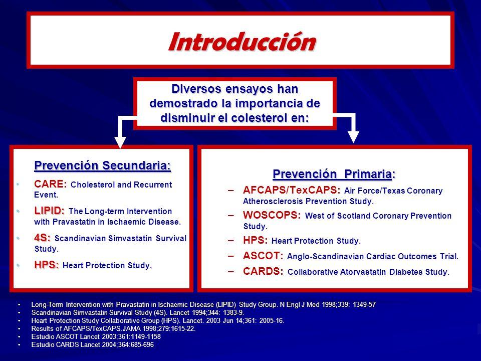 Prevención Secundaria: CARE: Cholesterol and Recurrent Event.