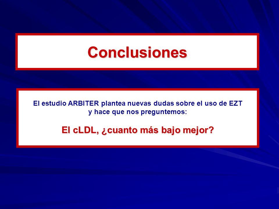 El estudio ARBITER plantea nuevas dudas sobre el uso de EZT y hace que nos preguntemos: El cLDL, ¿cuanto más bajo mejor? Conclusiones