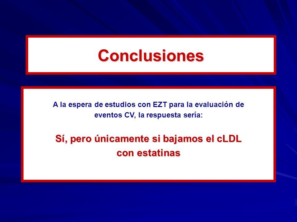 A la espera de estudios con EZT para la evaluación de eventos CV, la respuesta sería: Sí, pero únicamente si bajamos el cLDL con estatinas Conclusiones