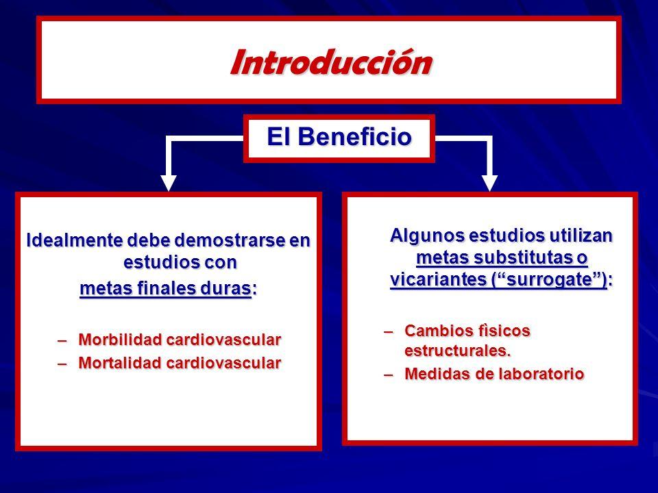 Idealmente debe demostrarse en estudios con metas finales duras: –Morbilidad cardiovascular –Mortalidad cardiovascular Algunos estudios utilizan metas substitutas o vicariantes (surrogate): –Cambios fìsicos estructurales.