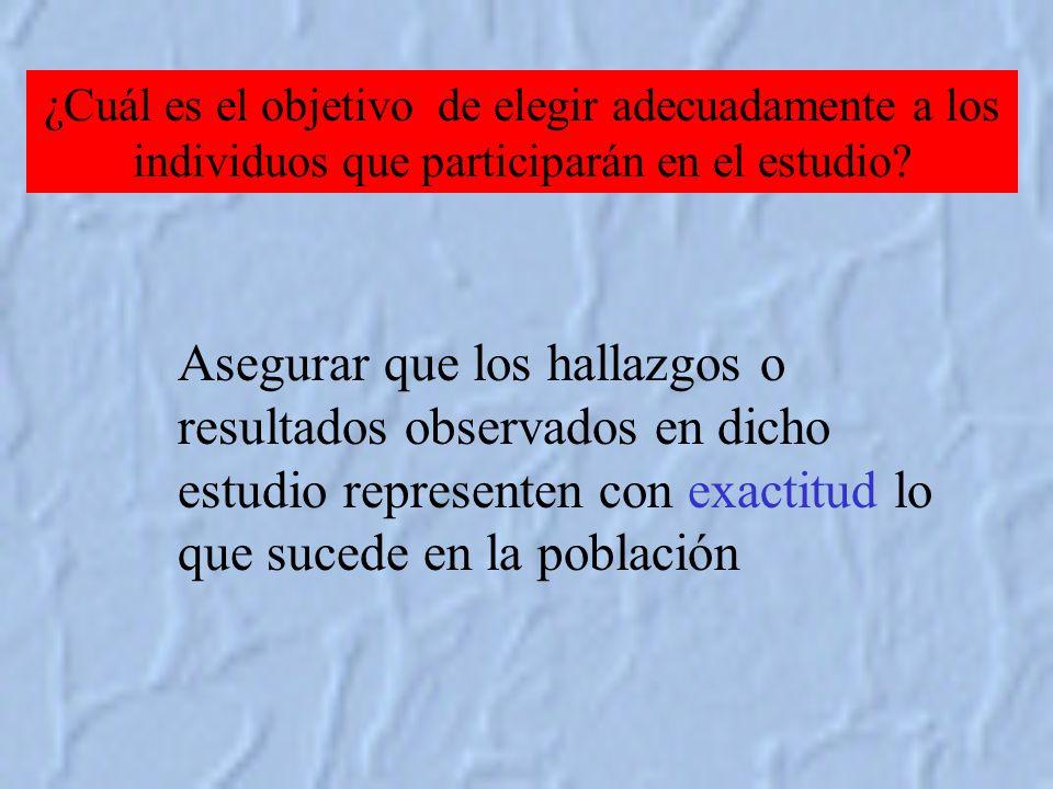 ¿Cuál es el objetivo de elegir adecuadamente a los individuos que participarán en el estudio.