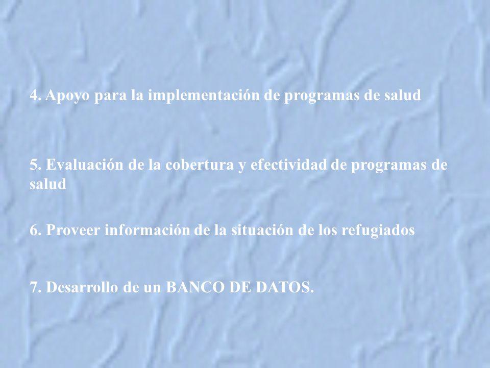 6.Proveer información de la situación de los refugiados 7.