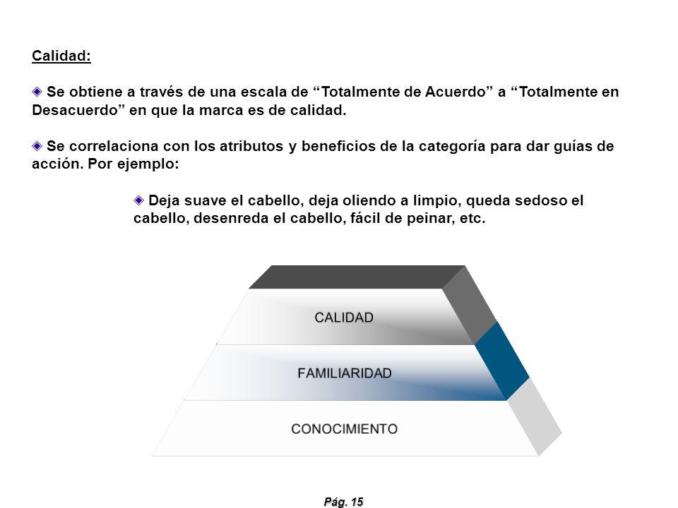 Pág. 15 CALIDAD FAMILIARIDAD CONOCIMIENTO Calidad: Se obtiene a través de una escala de Totalmente de Acuerdo a Totalmente en Desacuerdo en que la mar