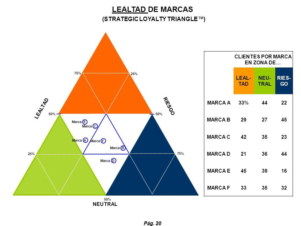 Pág. 20 CLIENTES POR MARCA EN ZONA DE… LEAL- TAD NEU- TRAL RIES- GO MARCA A33%4422 MARCA B292745 MARCA C423523 MARCA D213644 MARCA E453916 MARCA F3335