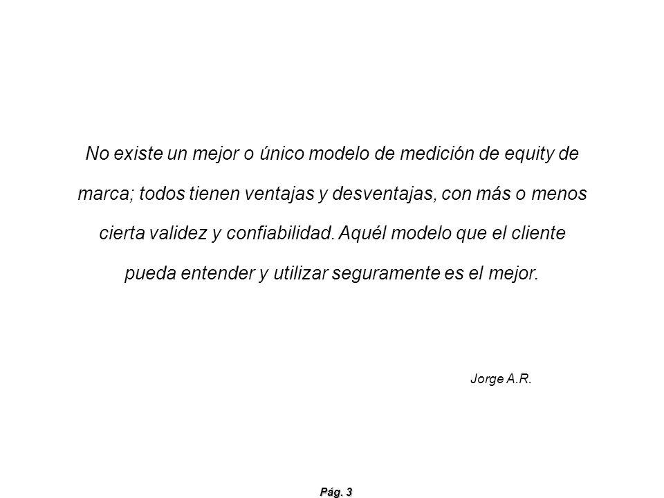 Pág. 3 No existe un mejor o único modelo de medición de equity de marca; todos tienen ventajas y desventajas, con más o menos cierta validez y confiab