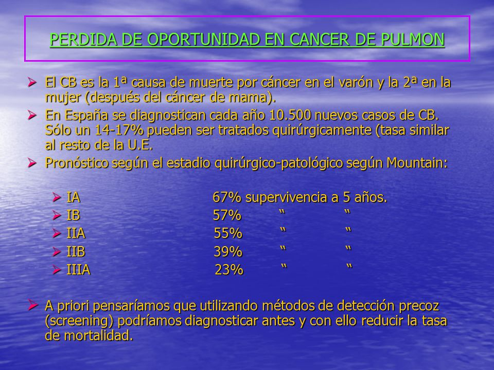 PERDIDA DE OPORTUNIDAD EN CANCER DE PULMON El CB es la 1ª causa de muerte por cáncer en el varón y la 2ª en la mujer (después del cáncer de mama). El