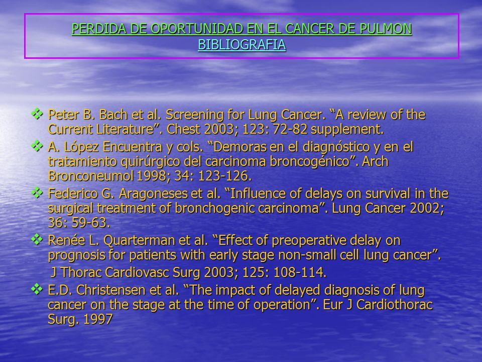 PERDIDA DE OPORTUNIDAD EN EL CANCER DE PULMON BIBLIOGRAFIA Peter B. Bach et al. Screening for Lung Cancer. A review of the Current Literature. Chest 2