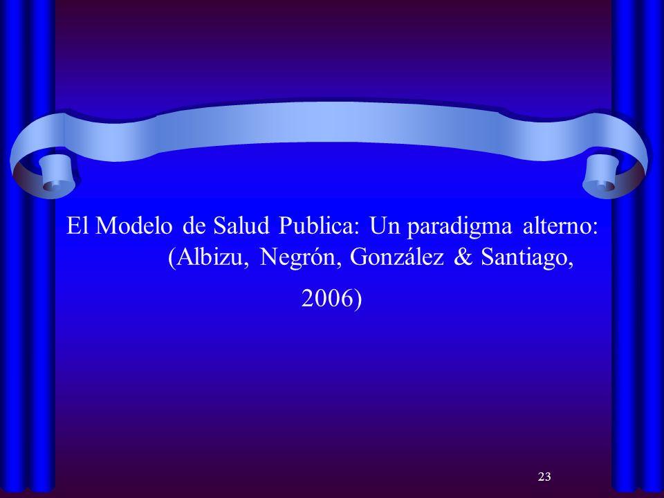 23 El Modelo de Salud Publica: Un paradigma alterno: (Albizu, Negrón, González & Santiago, 2006)