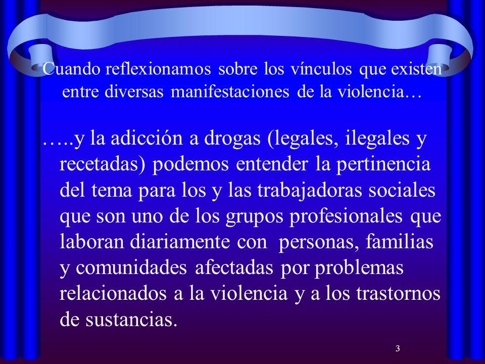 3 Cuando reflexionamos sobre los vínculos que existen entre diversas manifestaciones de la violencia… …..y la adicción a drogas (legales, ilegales y r