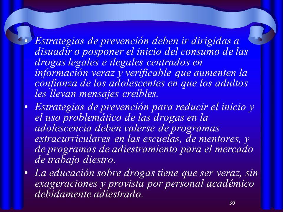 30 Estrategias de prevención deben ir dirigidas a disuadir o posponer el inicio del consumo de las drogas legales e ilegales centrados en información