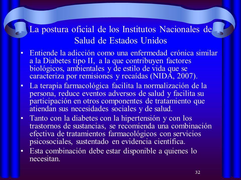 32 La postura oficial de los Institutos Nacionales de Salud de Estados Unidos Entiende la adicción como una enfermedad crónica similar a la Diabetes t