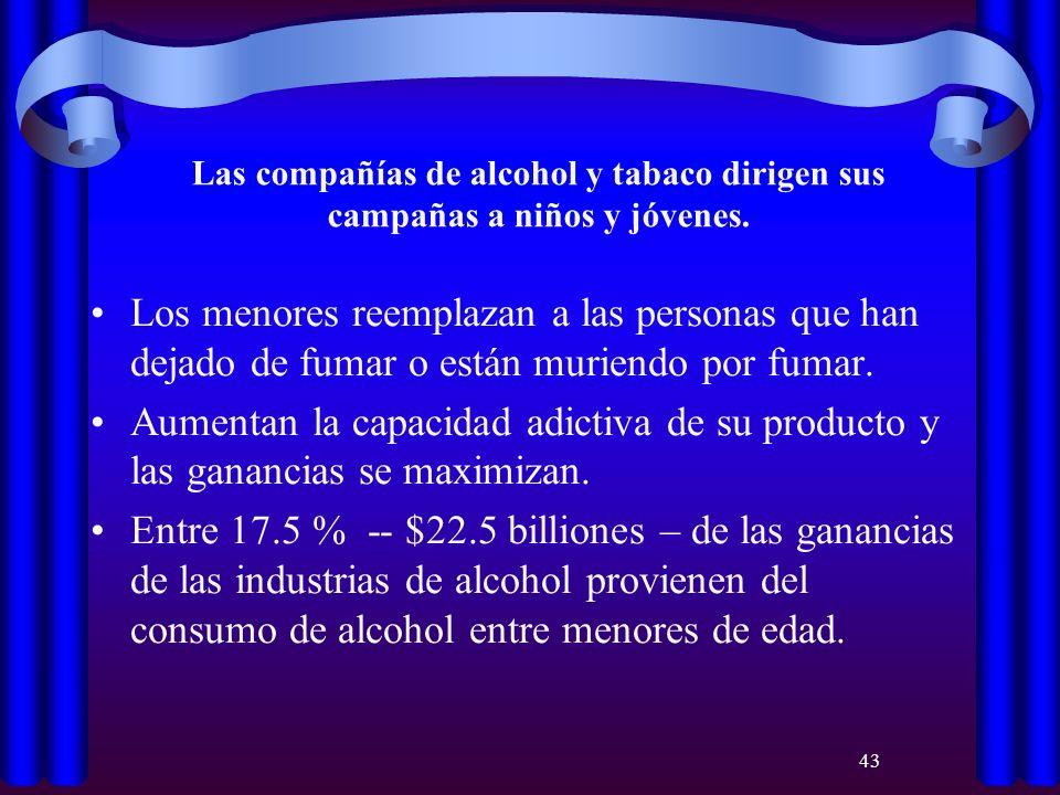 43 Las compañías de alcohol y tabaco dirigen sus campañas a niños y jóvenes. Los menores reemplazan a las personas que han dejado de fumar o están mur