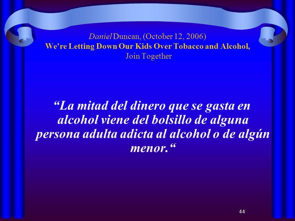 44 Daniel Duncan, (October 12, 2006) We're Letting Down Our Kids Over Tobacco and Alcohol, Join Together La mitad del dinero que se gasta en alcohol v