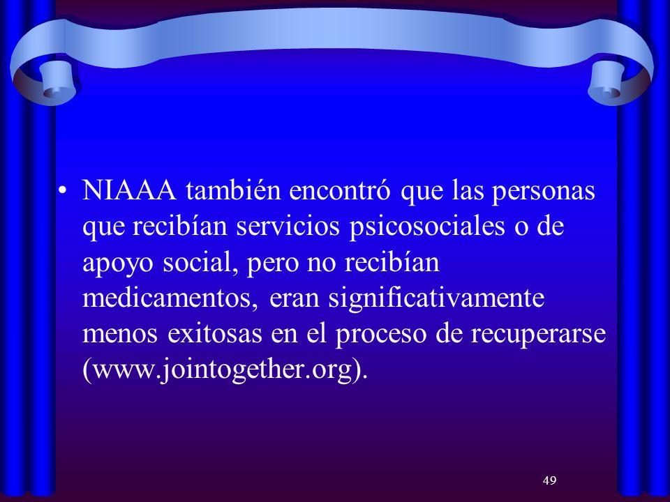 49 NIAAA también encontró que las personas que recibían servicios psicosociales o de apoyo social, pero no recibían medicamentos, eran significativame