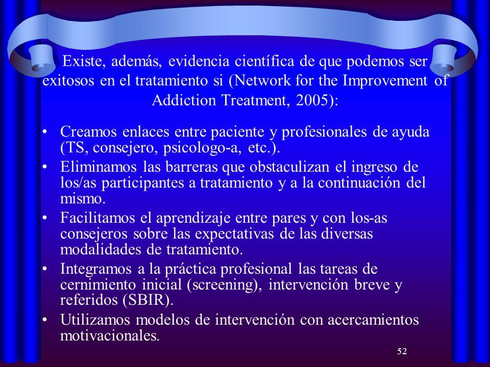 52 Existe, además, evidencia científica de que podemos ser exitosos en el tratamiento si (Network for the Improvement of Addiction Treatment, 2005): C