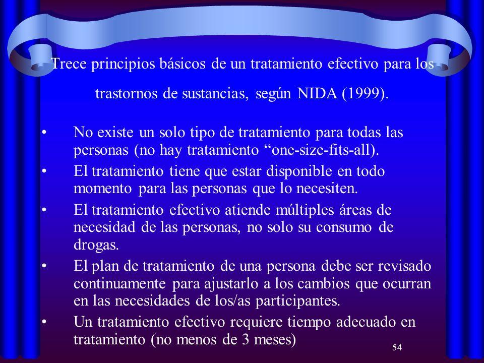 54 Trece principios básicos de un tratamiento efectivo para los trastornos de sustancias, según NIDA (1999). No existe un solo tipo de tratamiento par