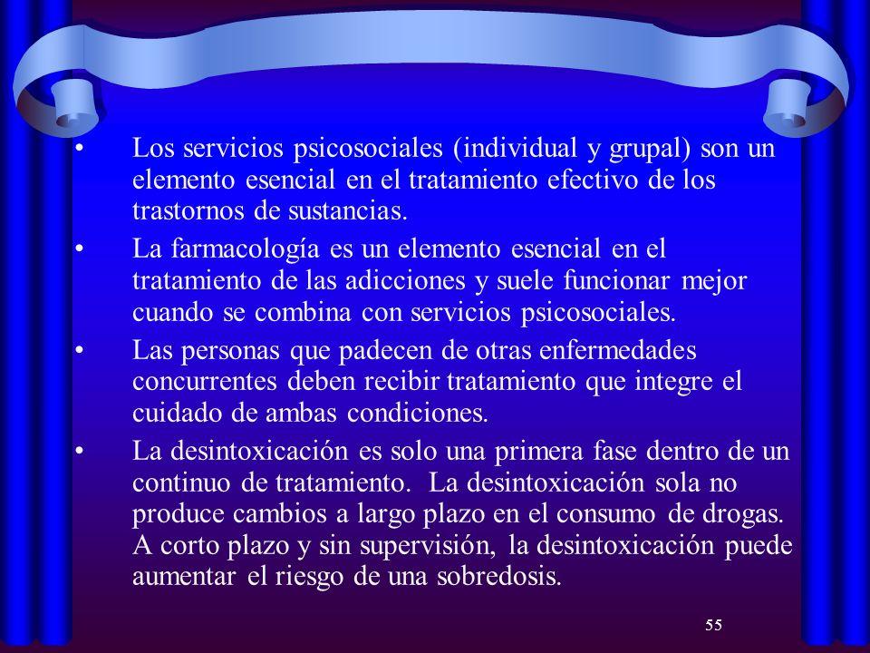 55 Los servicios psicosociales (individual y grupal) son un elemento esencial en el tratamiento efectivo de los trastornos de sustancias. La farmacolo