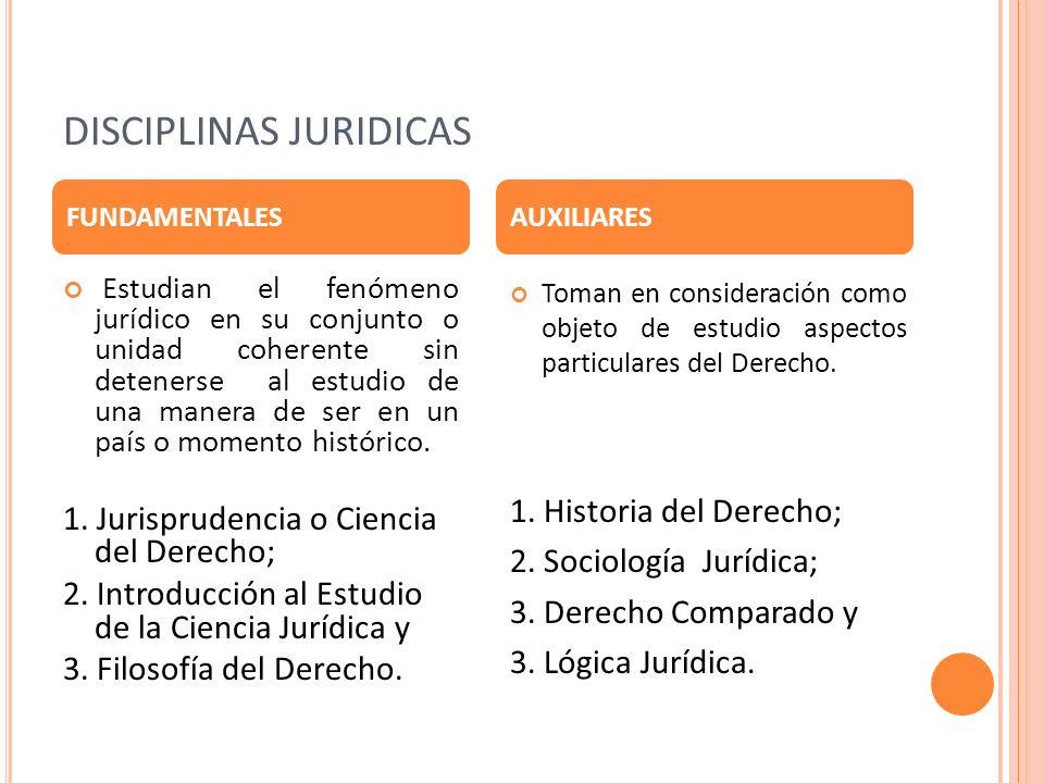 DISCIPLINAS JURIDICAS Estudian el fenómeno jurídico en su conjunto o unidad coherente sin detenerse al estudio de una manera de ser en un país o momen