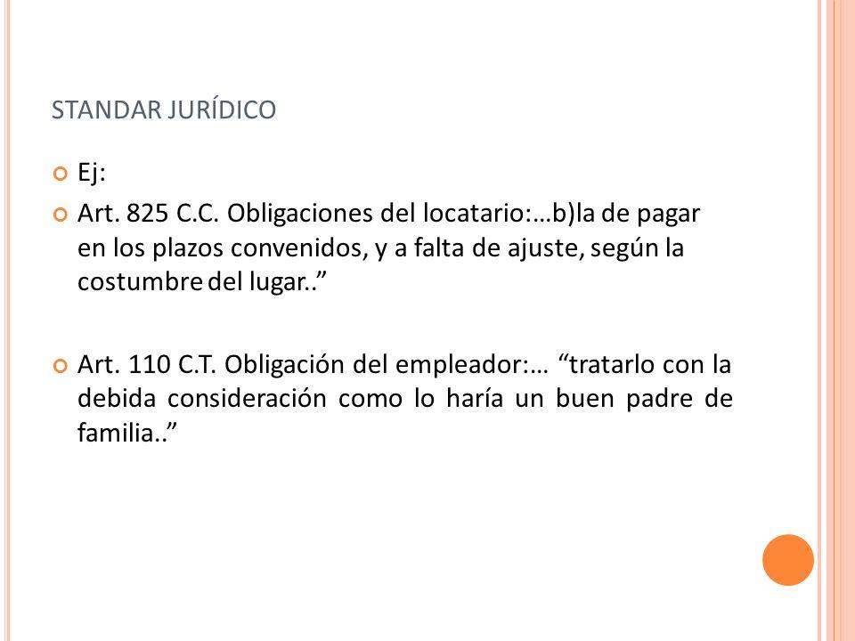 STANDAR JURÍDICO Ej: Art. 825 C.C. Obligaciones del locatario:…b)la de pagar en los plazos convenidos, y a falta de ajuste, según la costumbre del lug